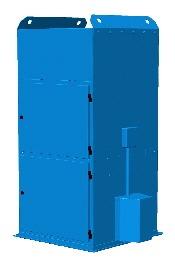 UMA H Pölynpoistolaite, jossa on puhallin- ja suodatinmoduuli. Laitteessa on laippa, laitteen kiinnitystä varten esim. pölykotelon vastalaippaan